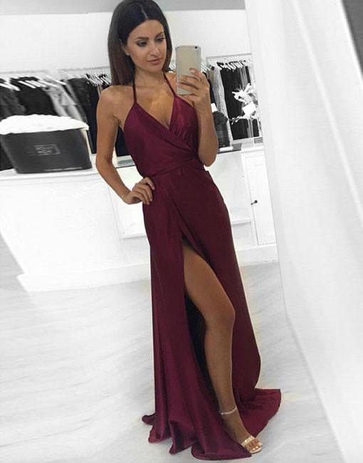 Simple v neck burgundy long prom dress, burgundy evening dress ...