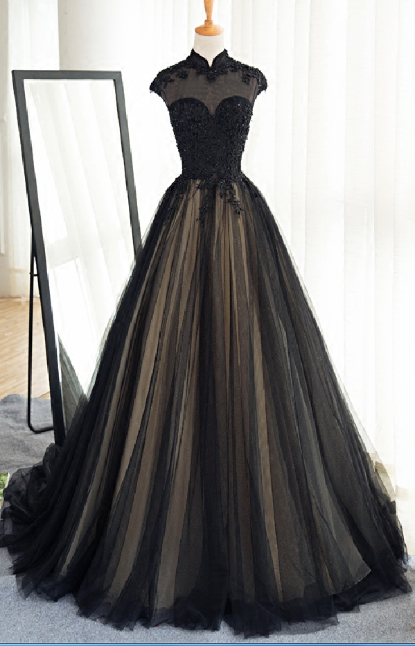 Prom Dress,Long Black Tulle Prom Dress,Lace Appliques Prom Gowns ...