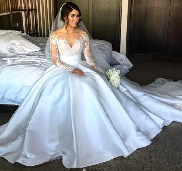 Wedding Dresses Lace Full Skirt : Pieces newest style long sleeve side slit ivory satin