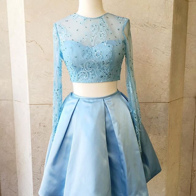 Blue homecoming dress, two pieces prom dress, short prom dress, lace ...
