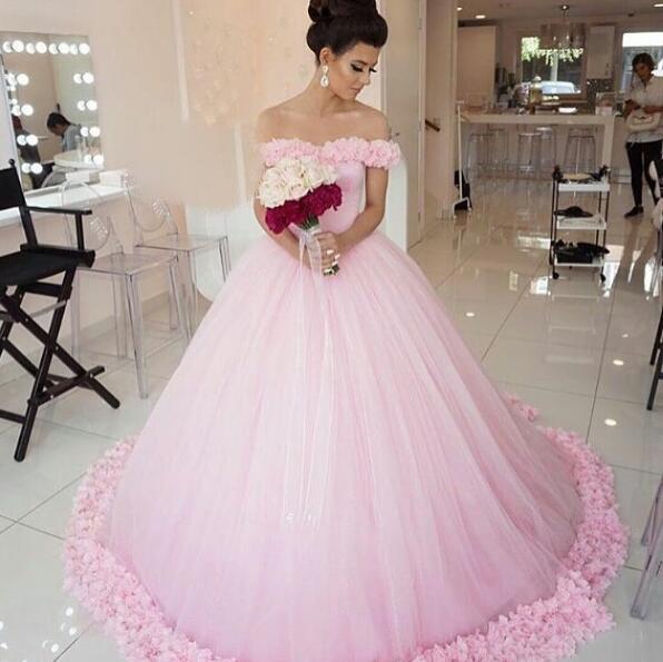 A411 Wedding Dresses,Pink Wedding Dress,Simple Wedding Dress,Off The  Shoulder Bridal Gowns,Women Ball Gowns,Wedding Dress With Flowers · ROMANCE  DRESS ...