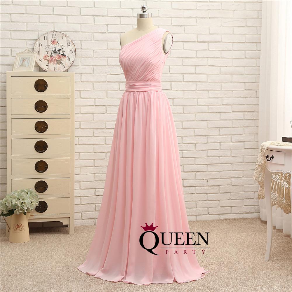 Pink Chiffon Ruffles A-line One-Shoulder Long Prom Dress, Bridesmaid ...