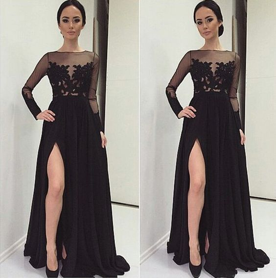 Black Evening Dress,Long Evening Party Dress,Sleeveless Prom Gown ...
