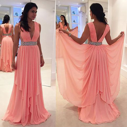 Peach Chiffon Prom Dresses,Long Prom Dresses,V-neck Beaded Pageant ...