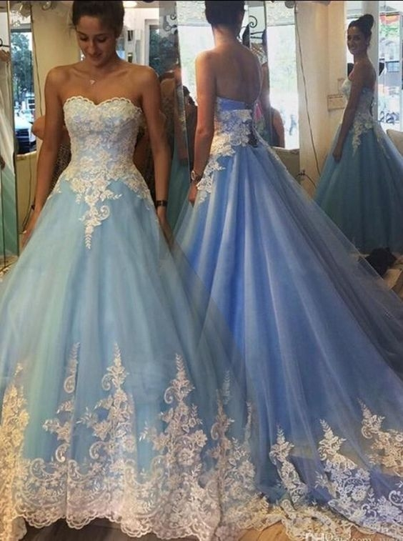 Blue Cinderella Wedding Dresses, Princess Wedding Dresses, Appliques ...