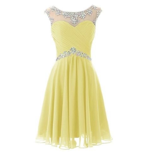 Simple Short Prom Dresses, Yellow Homecoming Dresses,Beading Evening ...