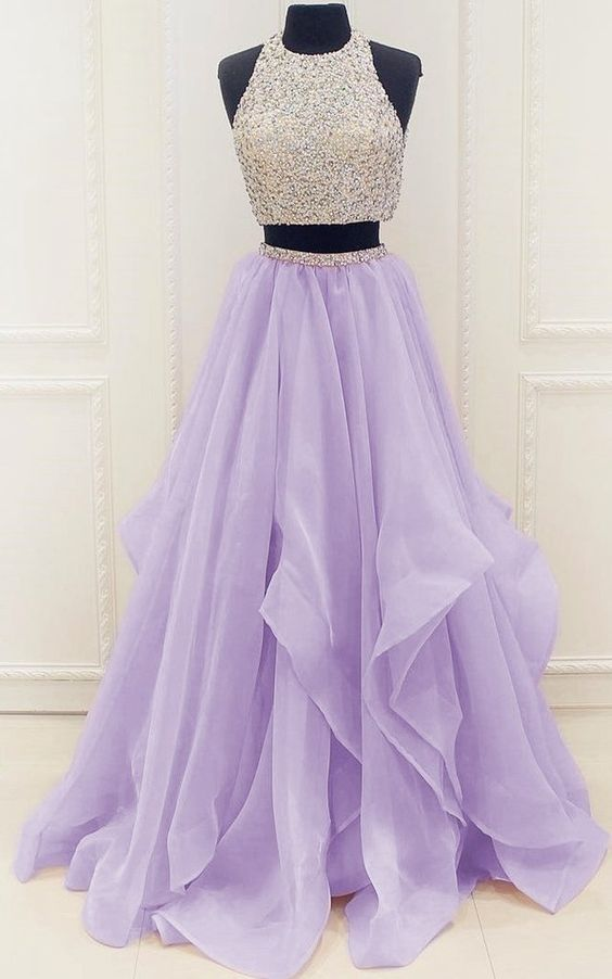 Two Pieces Prom Dresses Halter Prom Dresses Ball Gown Graduation