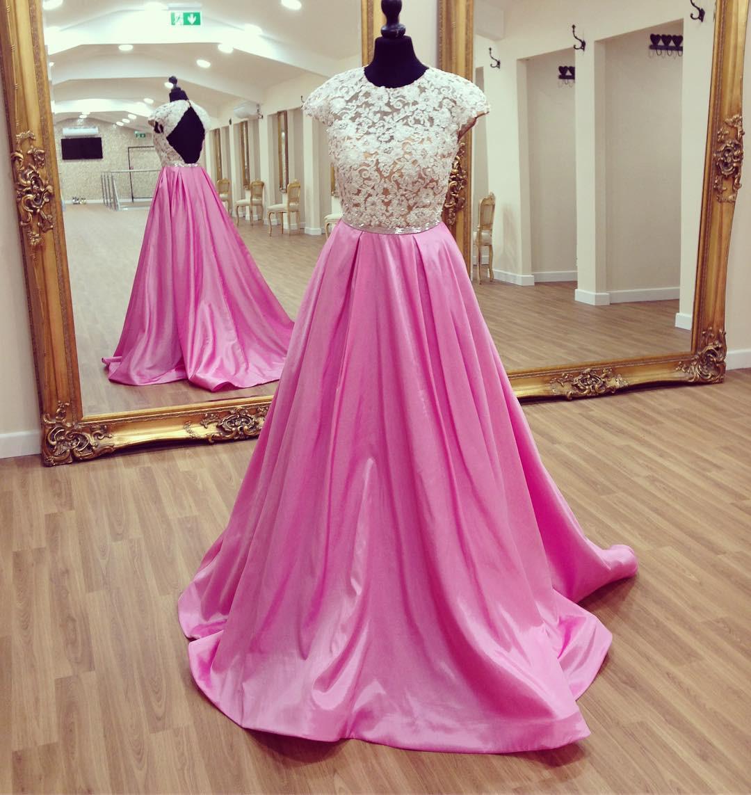 Ivory/ Pink Cap Sleeve Prom Dress,Keyhole Back A Line Formal Prom ...