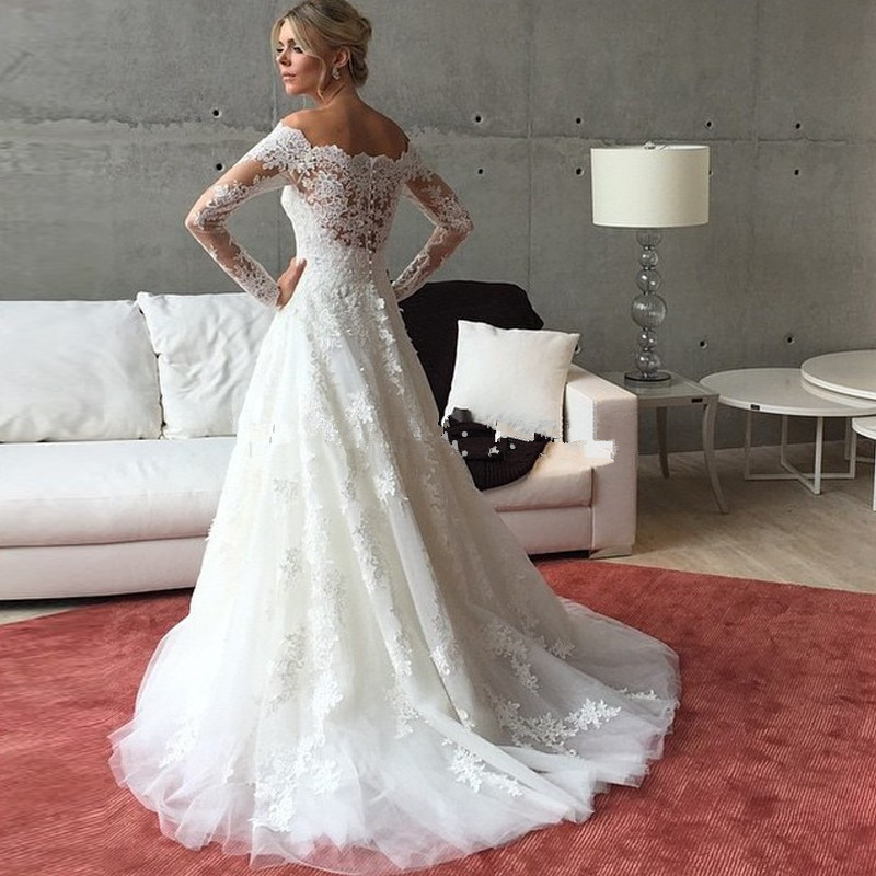 A448 One Boat Neck Elegant Wedding Dresses, Lace Long Sleeve Wedding ...