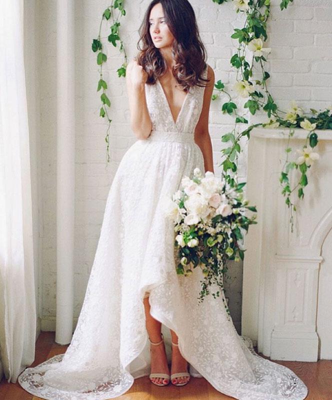 White V Neck Lace High Low Wedding Dress Lace Bridal Dress