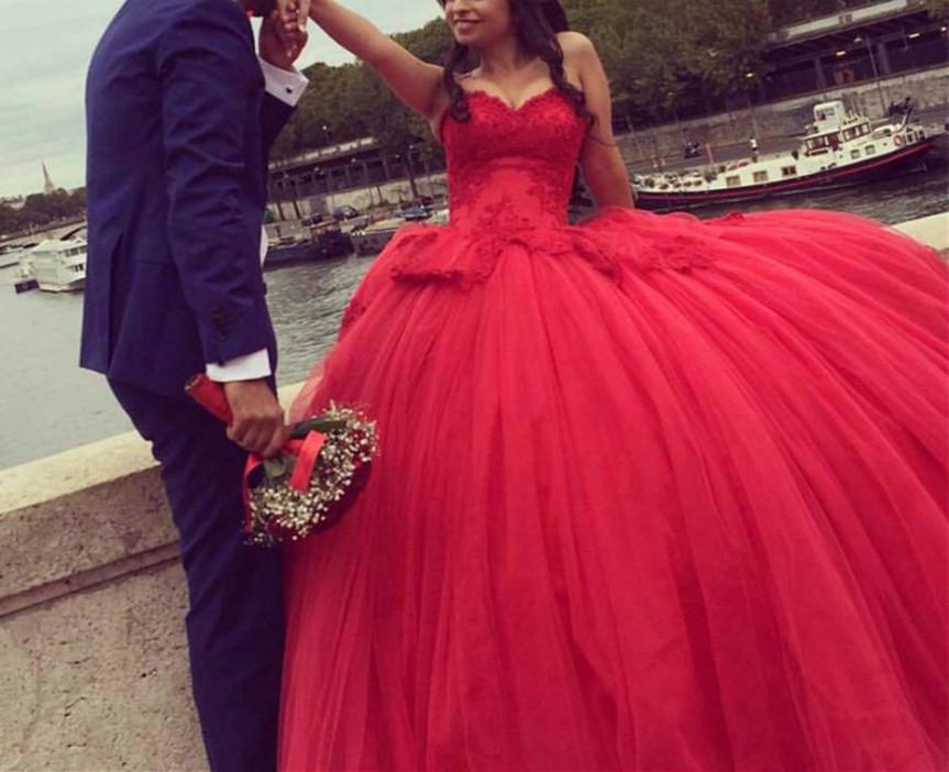 D64 Red Wedding Dress Beaded Wedding Dress Luxury Wedding Dress ...