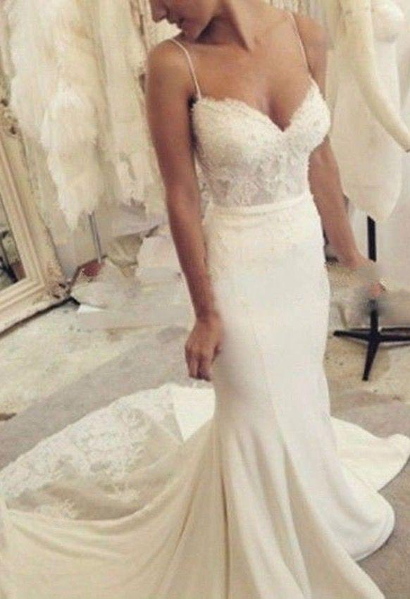 Tight Wedding Dress with Straps