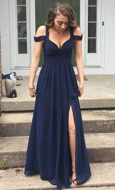 Simple Prom Dresses,Charming Prom Dress,Leg Slit Bridesmaid Dresses ...