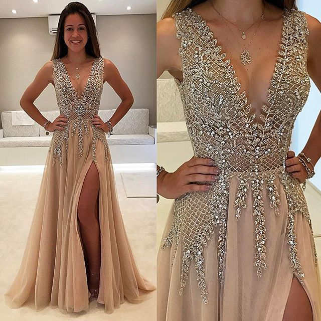 Custom made champagne beading long prom dress,champagne evening ...