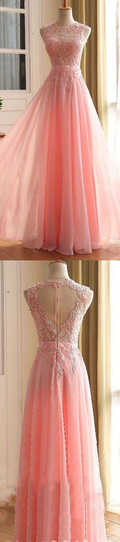 F26 Sexy Sleeveless Prom Dress, Appliques Prom Dresses,Long Evening ...