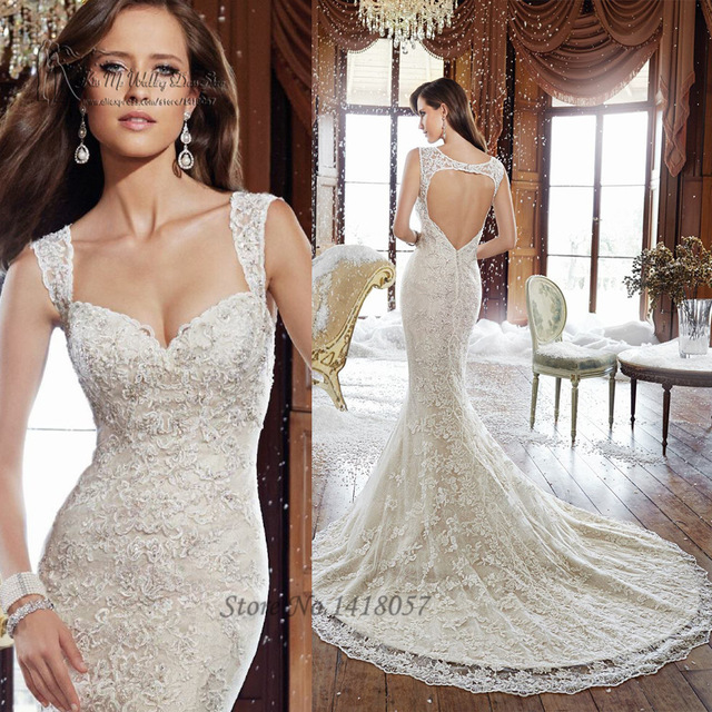 A493 Elegant Ivory White Mermaid Wedding Dresses Open Back Lace ...
