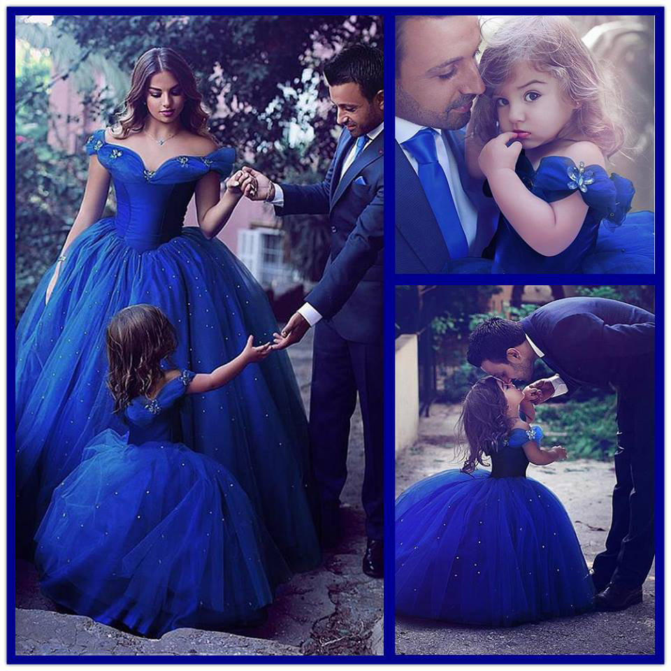 Ball Gown Off Shoulder Royal Blue Flower Girl Dressgirls Party