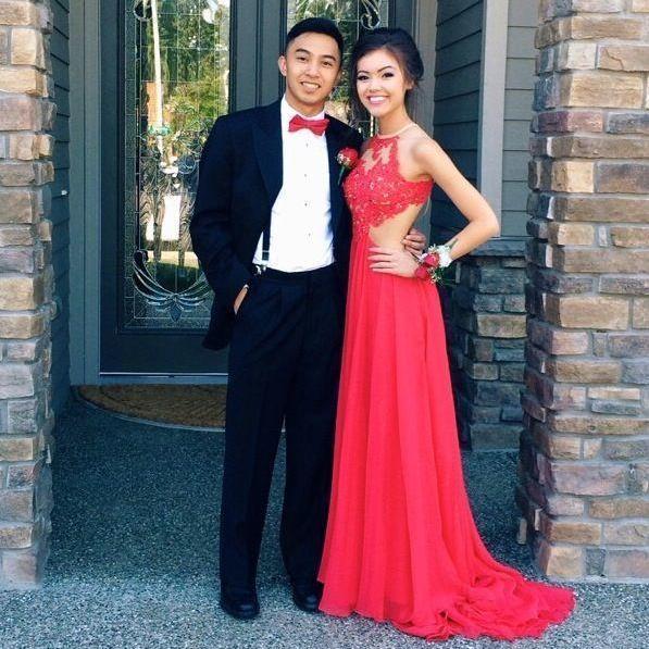 Red Chiffon Party Dress