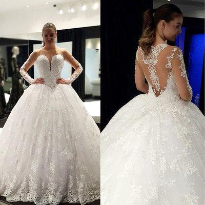 H440 Long Sleeves White Lace Long Wedding Dress,Lace Long Sleeve ...