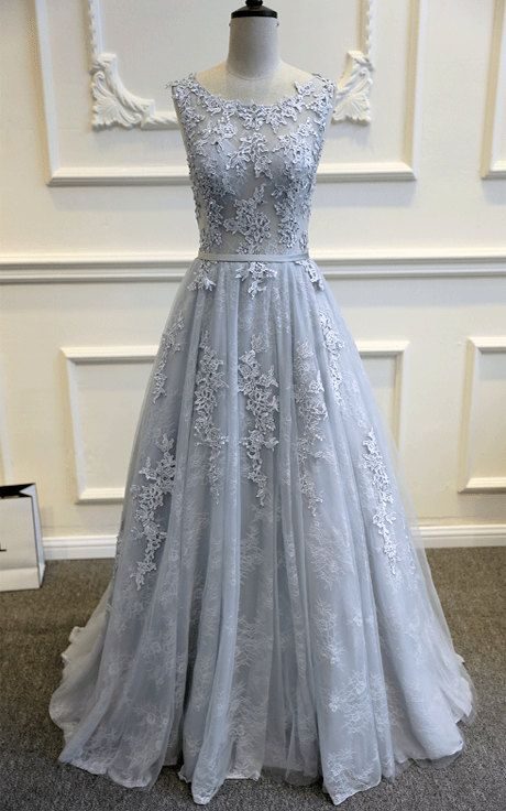 F120 Scoop Lace Appliques Beaded A Line Wedding Dress, Grey Lace ...