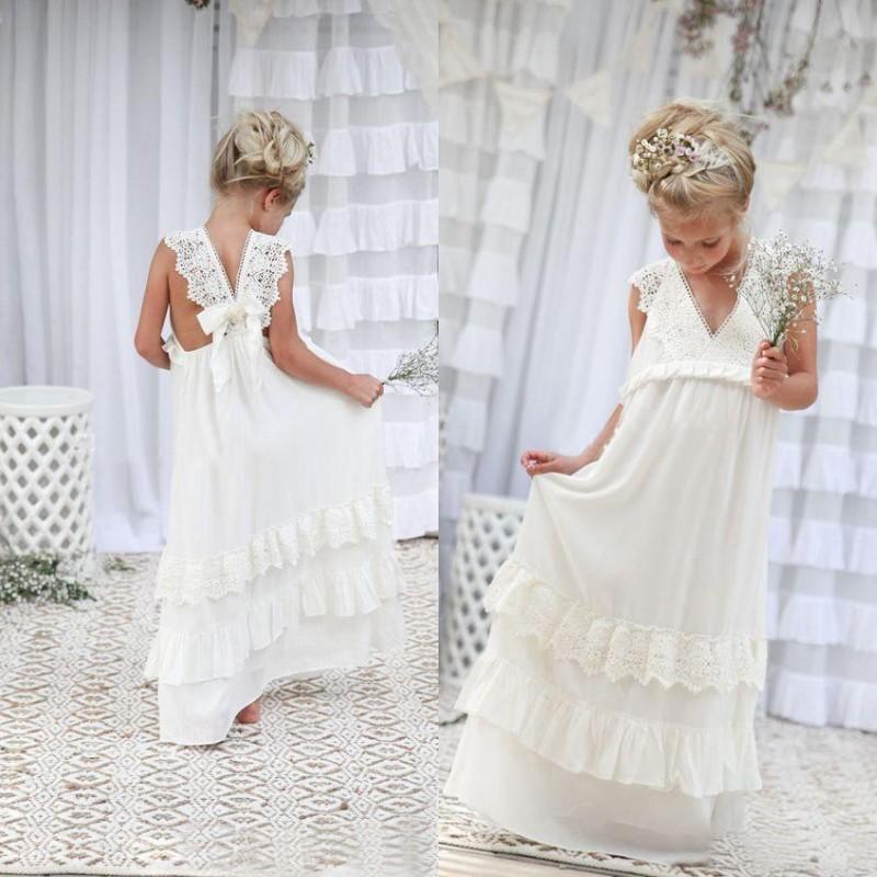 Adorable A-line White Long Boho Flower Girl Dress · modsele · Online ...