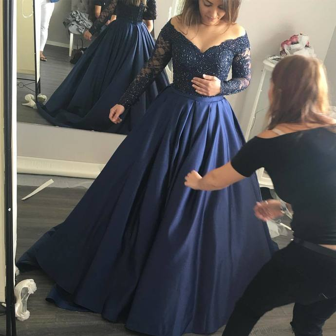 Long Sleeve Dark Navy Prom Dress,Long Prom Dresses,Charming Prom ...