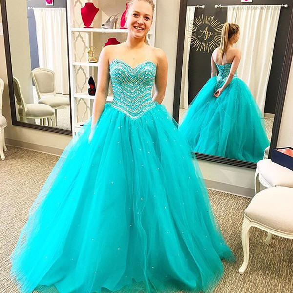 Ball Gown Prom Dress,Tulle Quinceanera Dress,Long Quinceanera ...