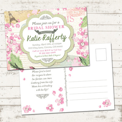 Bridal Shower Invitation- Shabby chic, Paris, vintage inspired, pinks ...