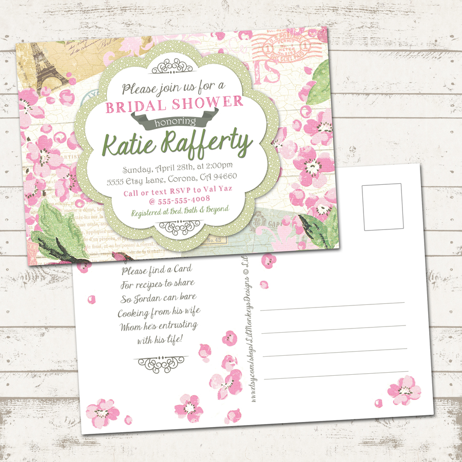 Valerie pullam designs bridal shower invitation shabby chic bridal shower invitation shabby chic paris vintage inspired pinks and green floral loading zoom filmwisefo Choice Image