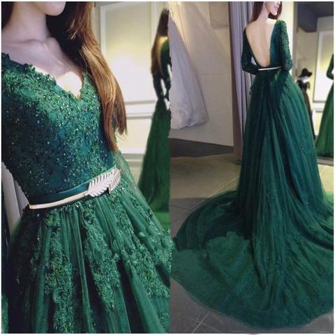 Dark Green Prom Dress with Sleeves