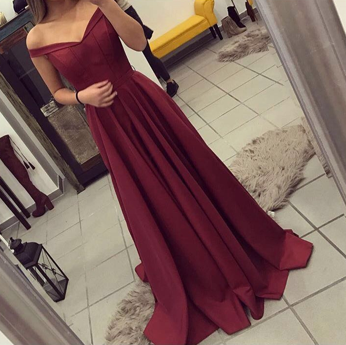 2017 Burgundy Satin Prom Dress,Off The Shoulder Evening Gown ...