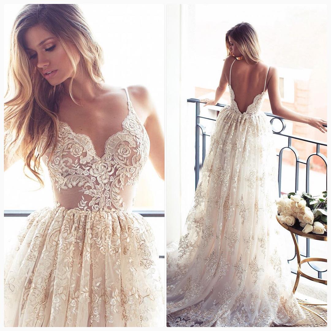 P224 Romantic A-line Long Lace Wedding Dress,Backless Lace Wedding ...