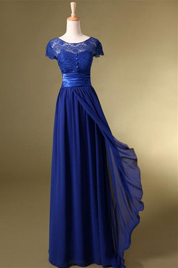 Royal Blue Prom Dress,Long Charming Prom Dress,Short Sleeve Evening ...