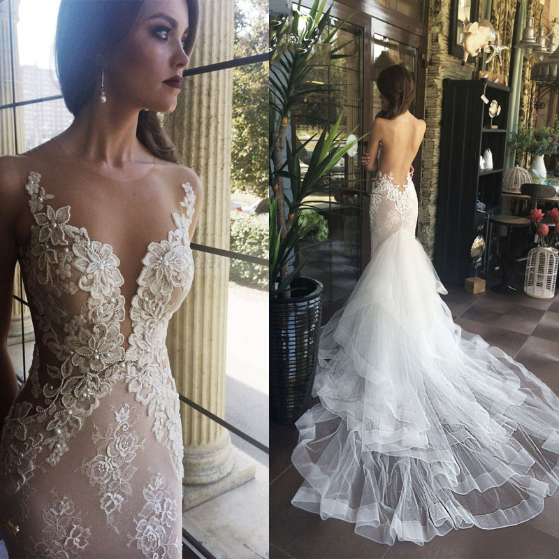 P255 Luxurious White Mermaid Long Wedding Dress,Backless Chapel ...