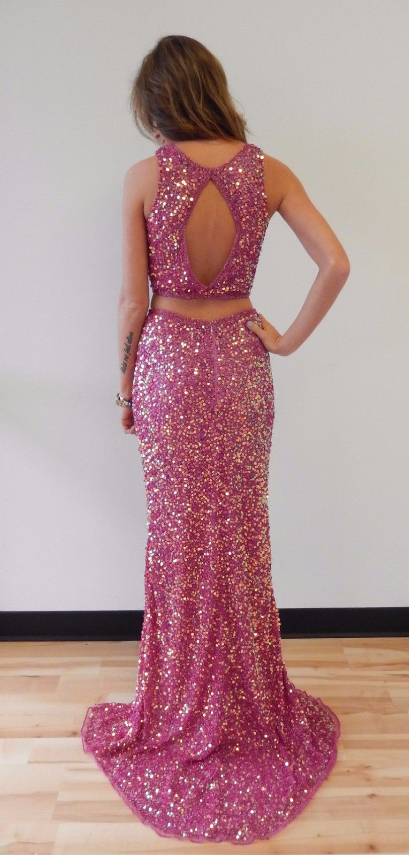 P301 Sparkly Two Piece Sequins Mermaid Long Prom Dress with Side ...