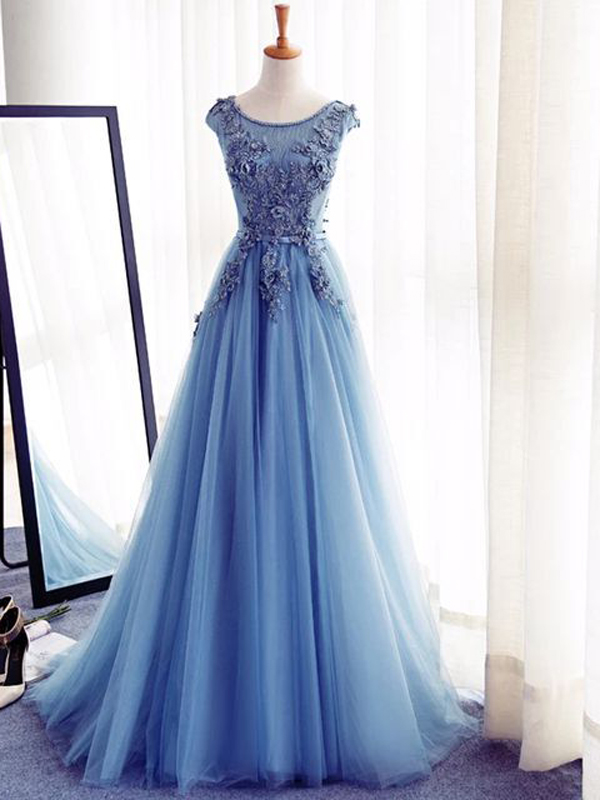 Beautiful Prom Dress,A-line Blue Color Scoop Floor-length Tulle ...