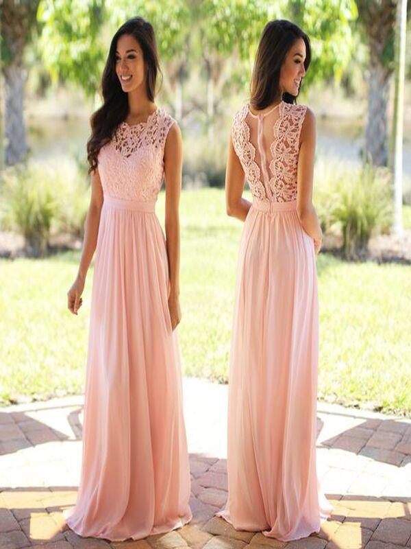 Blush Pink Lace Bridesmaid Dresses Long Bridesmaid