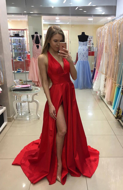 red v neck long prom dress red formal dress for teens
