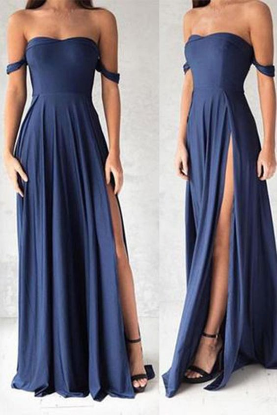 Gorgeous navy blue prom dresses elegant evening dresses for Costume jewelry for evening gowns