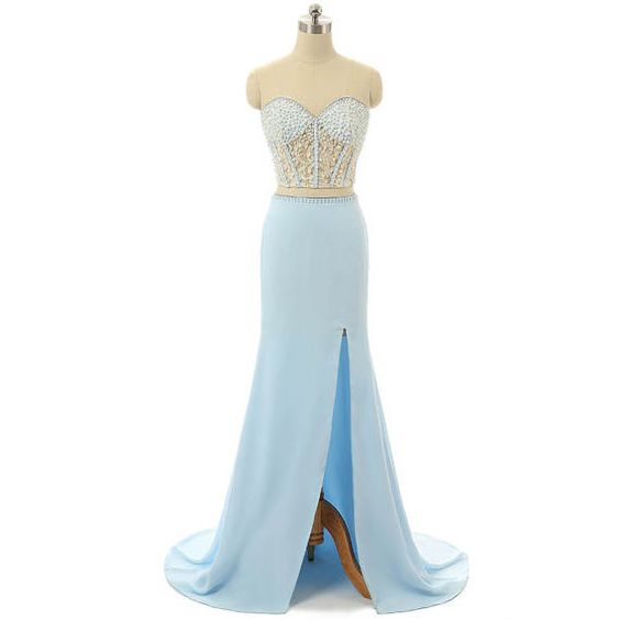 Light blue prom dress 2017 two pieces prom dress long lace appliques ...