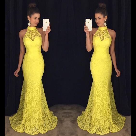 Yellow Prom Dress,Mermaid Prom Dress,Lace Prom Dress,Fashion Prom ...