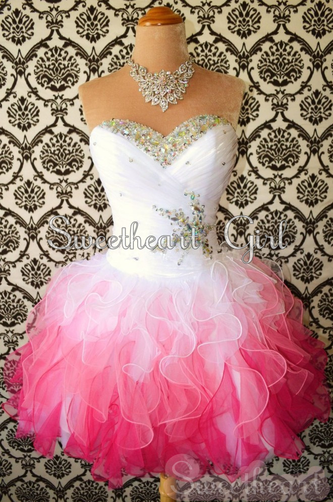 Sweetheart White/Red Mini Rhinestone Organza prom dresses/homecoming dresses