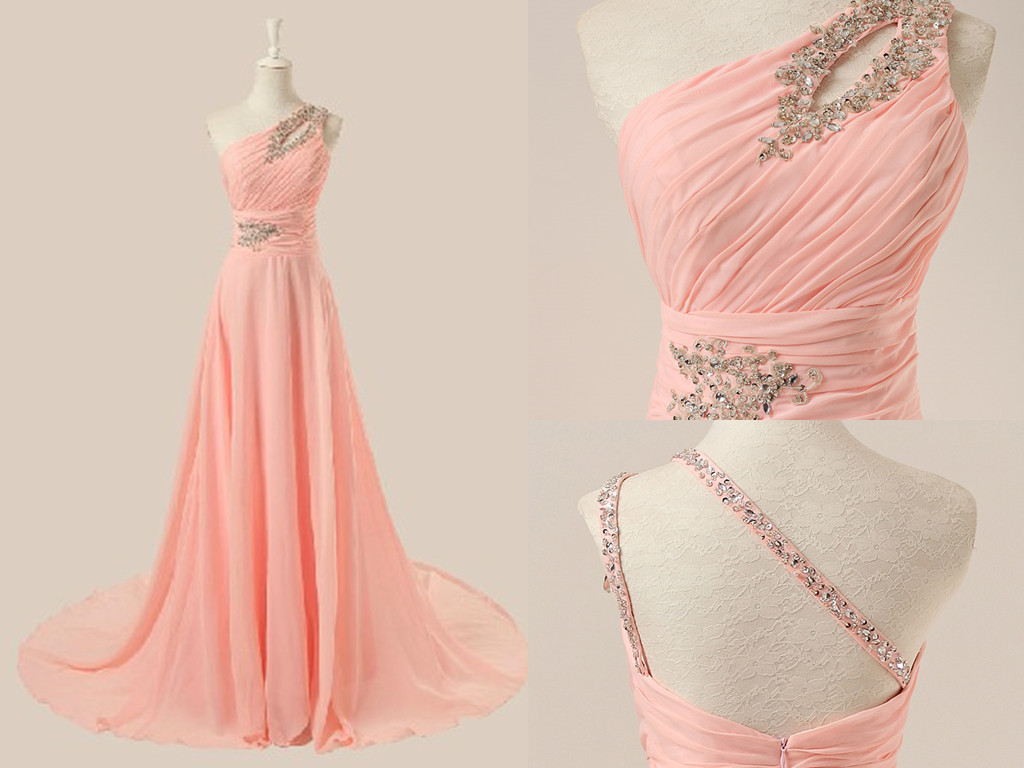 AM29 Delicate Pink Prom Dresses, One Shoulder Prom Dresses, Beading ...