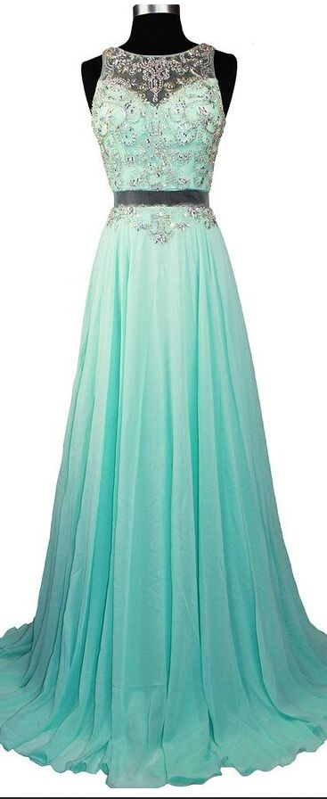 Fashionable Sexy Long Chiffon Prom Dresses Beaded Crystals Evening ...