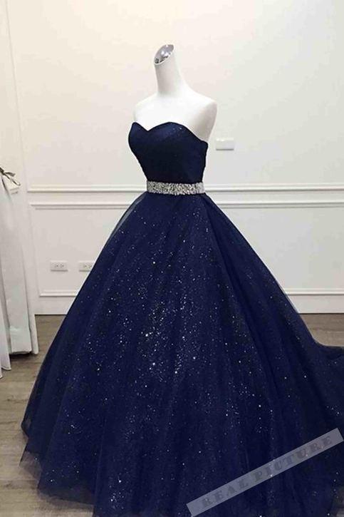 Dark Blue Tulle Sweetheart Sequins Floor Length Ball Gown