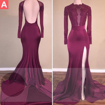 Lolipromdress Beading Long Sleeves Mermaid Stretch Satin Prom