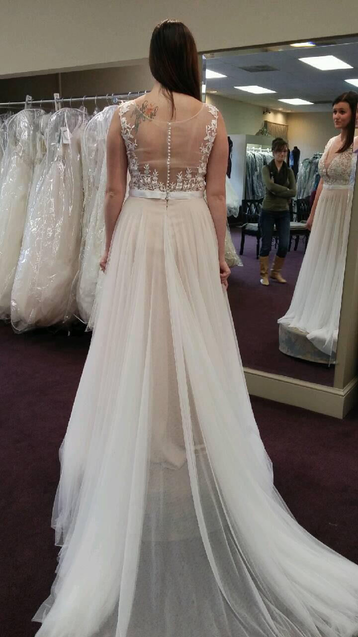 Lace Appliqued Soft Tulle Beach Wedding Dresses Plus Size