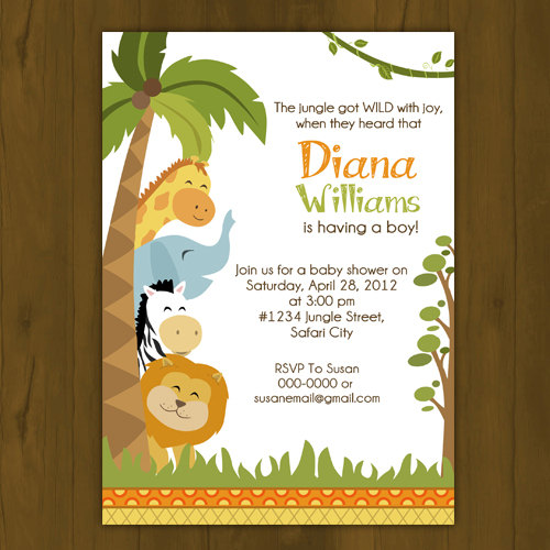 Safari Baby Shower Printed Invitations Jungle invites Wild zoo new
