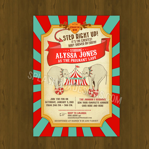 Vintage Circus Printed Baby Shower Invitations carnival invites