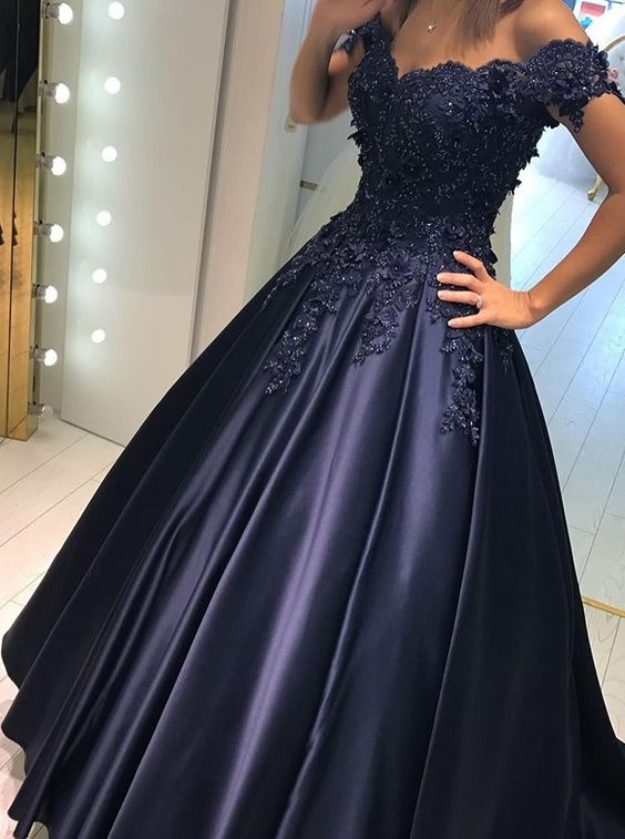 A-line Off-the-shoulder Satin Sweep Train Prom Dress with Appliques ...